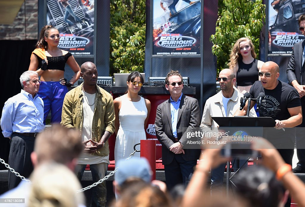 Ron Meyer, Vice Chairman, NBCUniversal, actor Tyrese Gibson, actress Michelle Rodriguez, Larry Kurzweil, President & COO Universal Studios Hollywood, actor Jason Statham and actor Vin Diesel attend the premiere press event for the new Universal Studios Hollywood Ride 'Fast & Furious-Supercharged' at Universal Studios Hollywood on June 23, 2015 in Universal City, California.