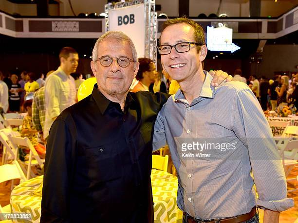 Ron Meyer ViceChairman NBCUniversal and CAA's Richard Lovett pose at the after party for the premiere of Universal Pictures and Illumination...