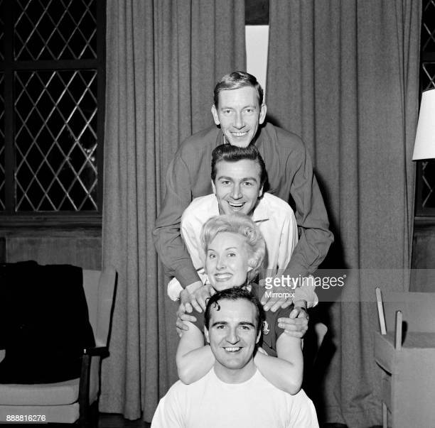 Ron Parry Des O'Connor and Billy Dainty are pictured with singer Jill Day The trio are rehearsing ahead of appearing on 'Saturday Spectacular' It is...