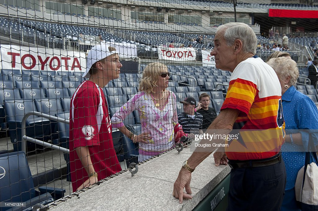 Ron Paul talks with fans before the start of the 51tst Annual Roll Call Congressional Baseball Game held at Nationals Stadium, June 28, 2012.