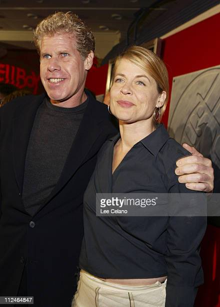 "Ron Perlman and Linda Hamilton during ""Hellboy"" Los Angeles Premiere - Red Carpet at Mann Village Westwood in Westwood, California, United States."