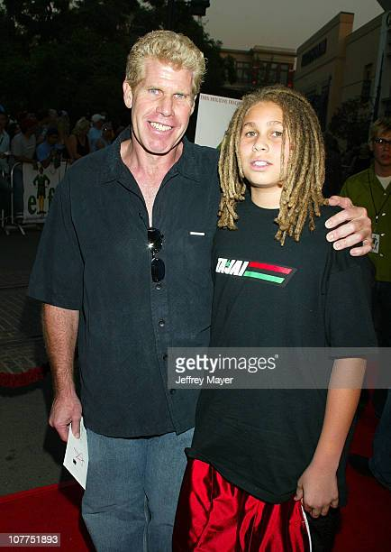 Ron Perlman and son Brandon during Elf Special Screening Los Angeles at The Grove Theater in Los Angeles California United States
