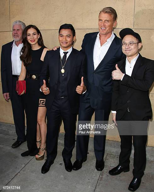 Ron Perlman Celina Jade Tony Jaa Dolph Lundgren and Ekachai Uekrongtham attend the premiere of 'Skin Trade' at the Egyptian Theatre on May 6 2015 in...