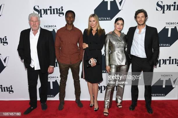 Ron Perlman Edi Gathegi Mira Sorvino Otmara Marrero and Adam Brody attend the 'Startup' Season 3 Premiere for the Tribeca TV Festival at Spring...