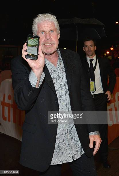 Ron Perlman is using Facebook Live on his phone at the premiere of 'The Bleeder' for the 2016 Toronto International Film Festival at Princess of...