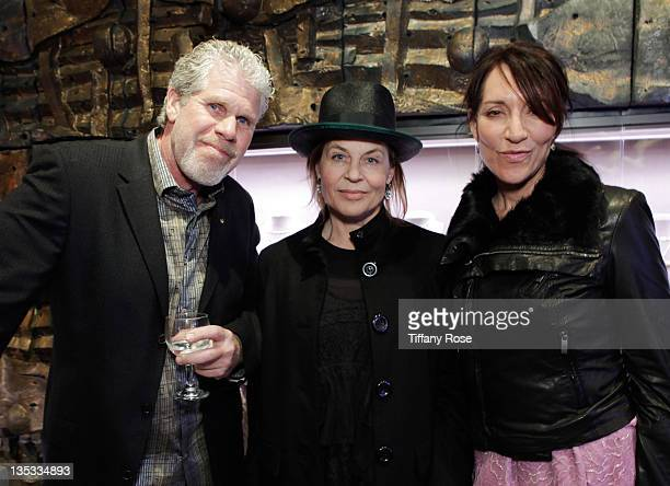 Ron Perlman Linda Hamilton and Katey Sagal attend the Opal Stone Luxury Handbags And Fine Jewelry Launch at Gray Gallery on December 8 2011 in...