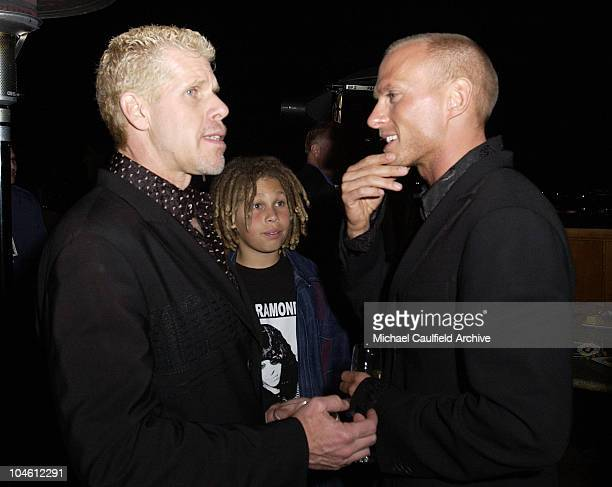 Ron Perlman son Brandon and Luke Goss during Blade II After Party at The Highlands in Hollywood California United States