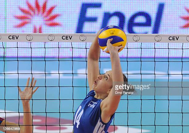 Ron Ponte of Israel passes the ball during the Women's Volleyball European Championship match between Israel and Czech Republic on September 26 2011...