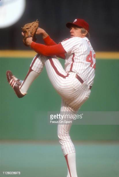Ron Reed of the Philadelphia Phillies pitches during an Major League baseball game circa 1980 at Veterans Stadium in Philadelphia Pennsylvania Reed...