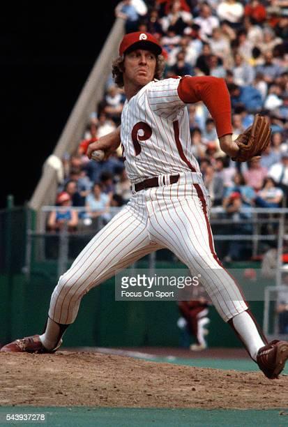 Ron Reed of the Philadelphia Phillies pitches during an Major League Baseball game circa 1979 at Veterans Stadium in Philadelphia Pennsylvania Reed...