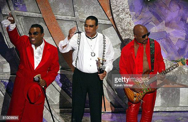 Ron Rudolf and Ernie Isley of the Musical Group The Isley Brothers perform on stage at the 2004 Black Entertainment Awards held at the Kodak Theatre...