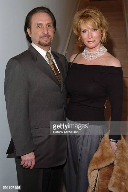 Ron Silver and Catherine de Castelbajac attend The Opening Reception of Richard Prince: Check Paintings at Gagosian Gallery on February 24, 2005 in...