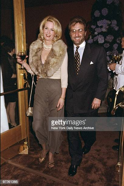 """Ron Silver and date Catherine de Castelbajac attending a preview of the musical """"Ragtime"""" at the Ford Center for the Performing Arts."""