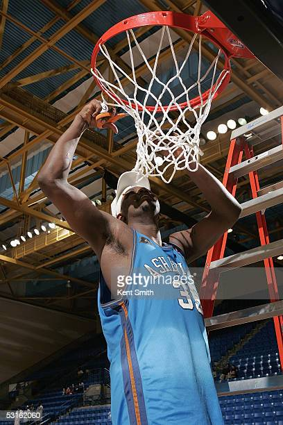 Ron Slay of the Asheville Altitude cuts down the nets following the NBDL Championship Game against the Columbus Riverdragons at the Columbus Civic...