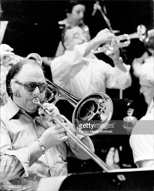 Ron Spillett on Bass Trombone in foreground and Jack Iverson Trumpet in BackgroundThe Australian Pops Orchestra rehearsed for their Concert at the...
