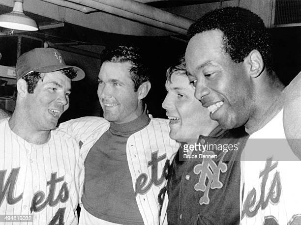 Ron Swoboda JC Martin Tom Seaver and Donn Clendenon of the New York Mets celebrate in the locker room after they defeated the Baltimore Orioles in...