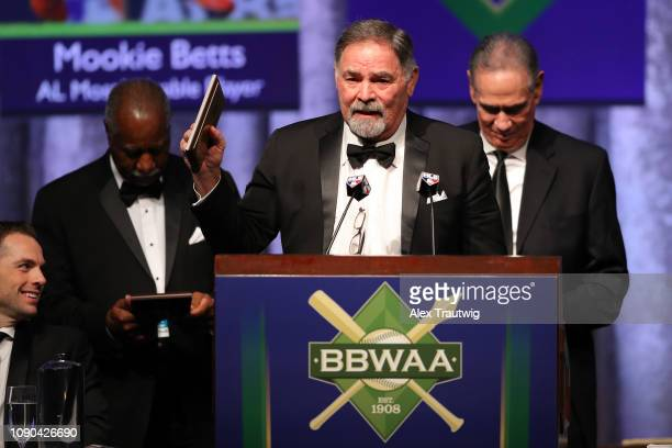 Ron Swoboda speaks on behalf of the 1969 Mets winners of the Willie Mickey the Duke Award during the 2019 Baseball Writers' Association of America...