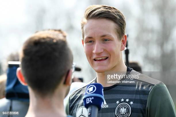 Ron Thorben Hoffmann gives an interview after a training session during the DFB Elite Goalkeeper Camp on April 10 2018 in Neustadt an der Donau...