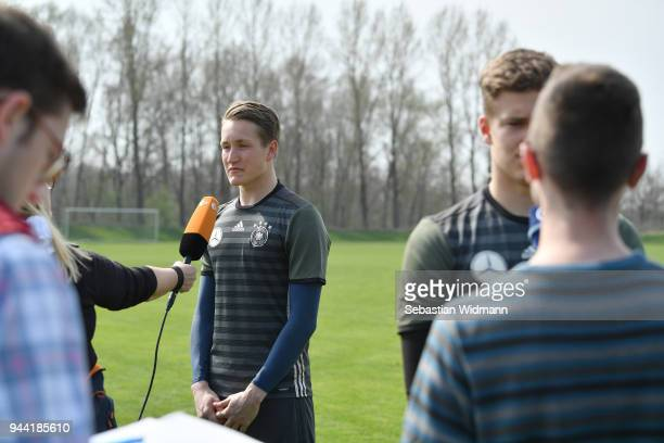 Ron Thorben Hoffmann gives an interview during the DFB Elite Goalkeeper Camp on April 10 2018 in Neustadt an der Donau Germany