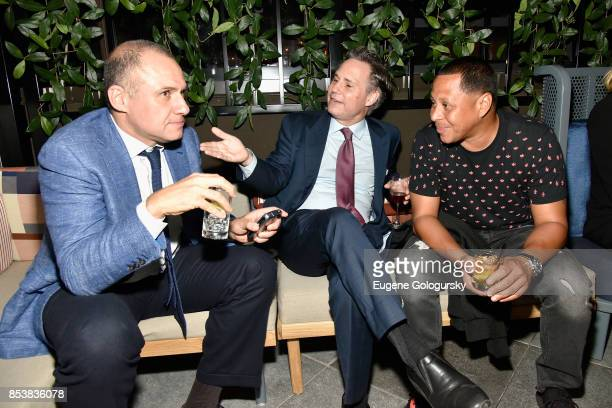 Ron Torossian Jason Binn and Keenan Towns attend the celebration of DuJour's fall cover star Uma Thurman at The Magic Hour at Moxy Times Square on...