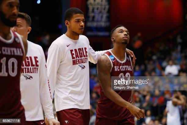 Ron Trapps of the North Carolina Central Eagles reacts after being defeated by the UC Davis Aggies 6763 in the First Four game in the 2017 NCAA Men's...