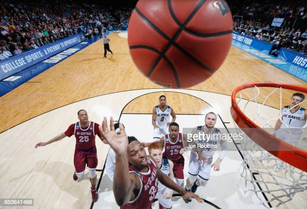 Ron Trapps of the North Carolina Central Eagles shoots the ball against the UC Davis Aggies during the First Four game in the 2017 NCAA Men's...