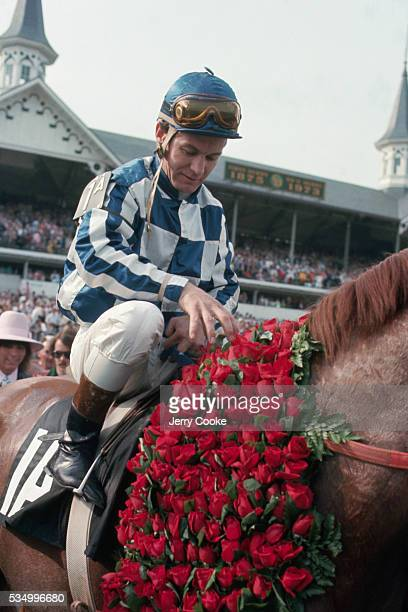 Ron Turcotte a Triple Crown winner sits atop Secretariat after winning the 1973 Kentucky Derby at Churchill Downs