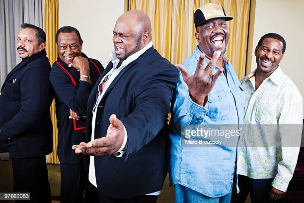 Ron Tyson Joe Herndon Bruce Williamson Otis Williams and Terry Weeks of The Temptations pose for portraits at The Grosvenor House Hotel on March 4...