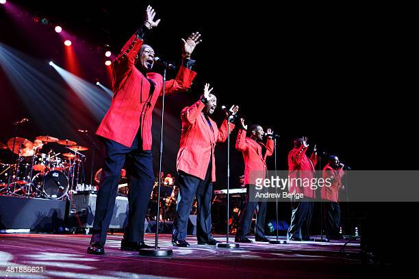 Ron Tyson Otis Williams Bruce Williamson Terry Weeks and Joe Herndon of The Temptations perform on stage at First Direct Arena on April 1 2014 in...