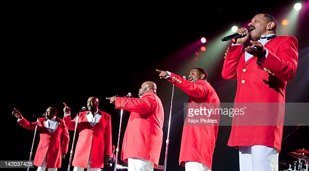 Ron Tyson Otis Williams Bruce Williamson Terry Wells and Ron Tyson of The Temptations perform at O2 Arena on March 28 2012 in London England