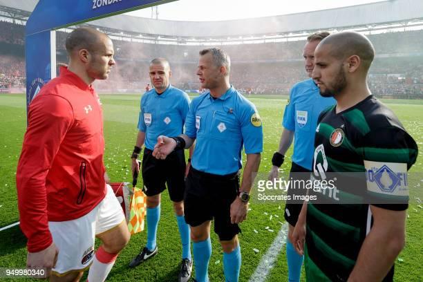 Ron Vlaar of AZ Alkmaar assistant trainer Sander van Roekel referee Bjorn Kuipers assistant trainer Erwin Zeinstra Karim El Ahmadi of Feyenoord...