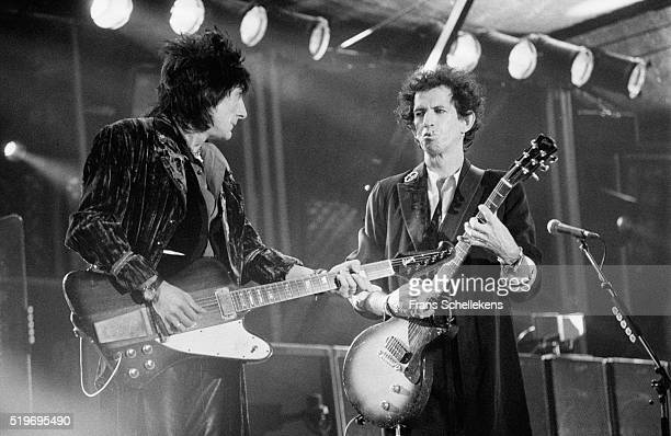 Ron Wood and Keith Richards, guitar, perform with Rolling Stones on August 30st 1995 at the Feijenoord Stadium in Rotterdam, Netherlands.