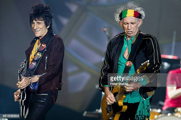 Ron Wood and Keith Richards of the british rock band 'The Rolling Stones' perform at EspritArena on June 19 2014 in Duesseldorf Germany