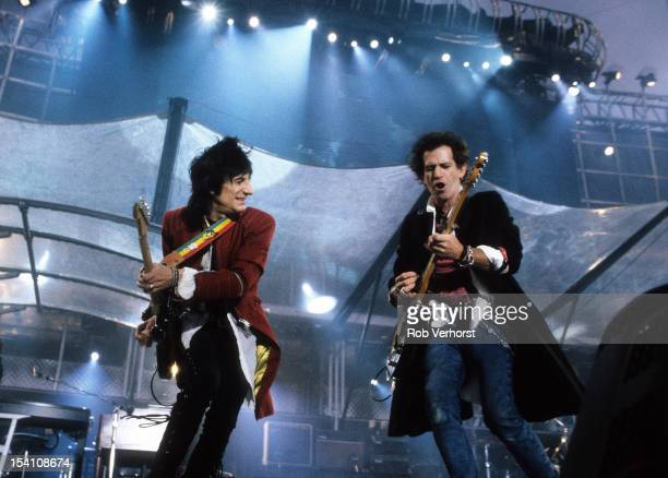 Ron Wood and Keith Richards of The Rolling Stones perform on stage on the Voodoo Lounge Tour Landgraaf Netherlands 18th June 1995