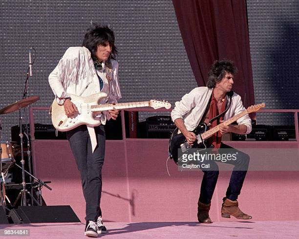Ron Wood and Keith Richards performing with the Rolling Stones at Candlestick Park in San Francisco on October 17 1981