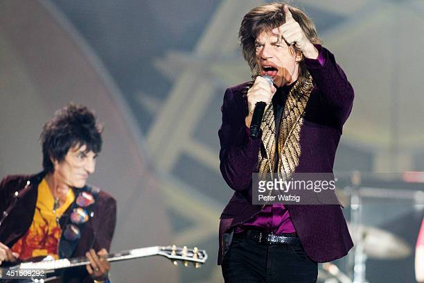 Ron Wood and Mick Jagger of the british rock band 'The Rolling Stones' perform at EspritArena on June 19 2014 in Duesseldorf Germany