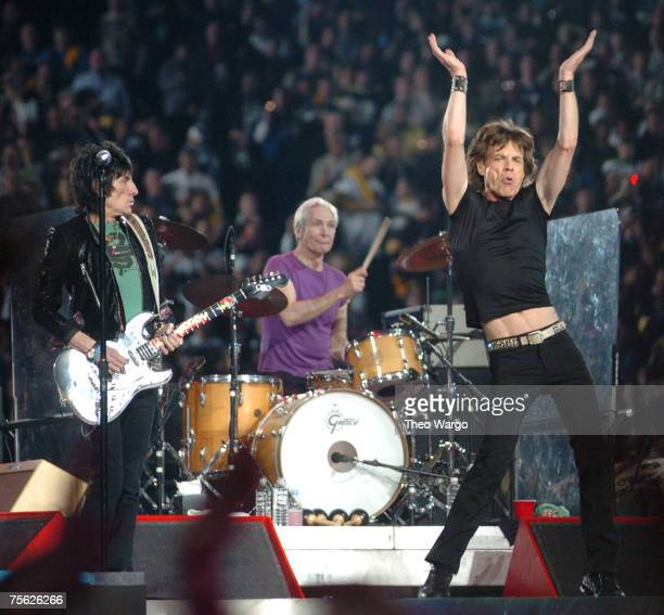 Ron Wood Charlie Watts and Mick Jagger of The Rolling Stones perform at halftime during Super Bowl XL between the Pittsburgh Steelers and Seattle...