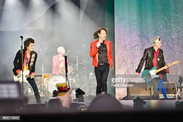 Ron Wood Charlie Watts Mick Jagger and Keith Richards of the British band The Rolling Stones perform live on stage during a concert at the...