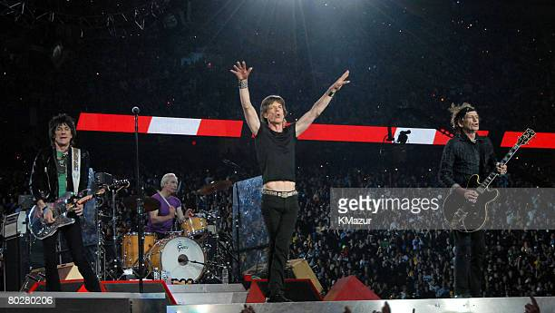 Ron Wood Charlie Watts Mick Jagger and Keith Richards of The Rolling Stones perform at halftime during Super Bowl XL between the Pittsburgh Steelers...