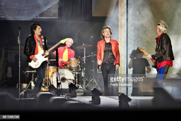 Ron Wood Charlie Watts Mick Jagger and Keith Richards of The Rolling Stones perform live on stage during a concert at the Olympiastadion on June 22...