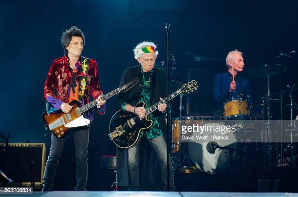 Ron Wood Keith Richards and Charlie Watts from The Rolling Stones perform at U Arena on October 19 2017 in Nanterre France