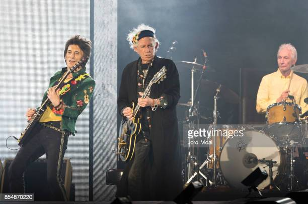 Ron Wood Keith Richards and Charlie Watts of The Rolling Stones perform on stage at Estadi Olimpic on September 27 2017 in Barcelona Spain