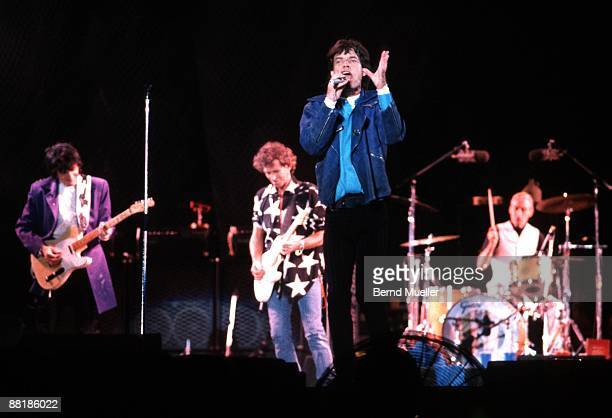 Ron Wood Keith Richards Mick Jagger and Charlie Watts of the Rolling Stones perform on stage during the Urban Jungle tour at the Waldstadion in...