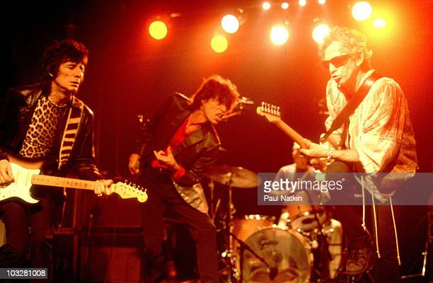 Ron Wood Mick Jagger and Keith Richards of the Rolling Stones playing the Double Door before the Bridges to Babylon Tour in 1997 in Chicago Il