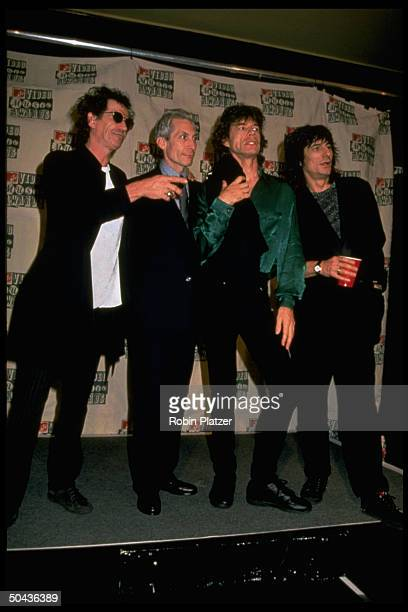 Ron Wood Mick Jagger Charlie Watts Keith Richards of the rock group the Rolling Stones at the MTV Music Video Awards at Radio City Music Hall