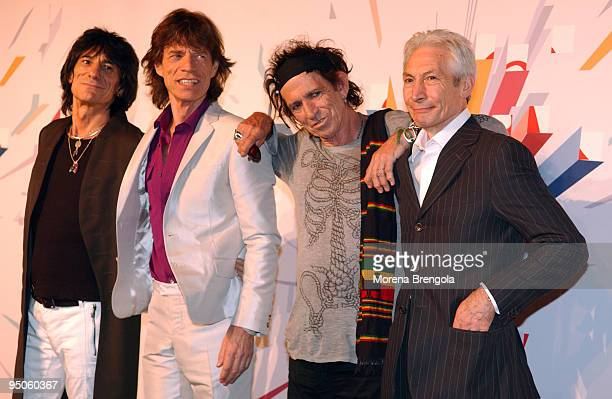 Ron Wood Mick Jagger Keith Richards and Charlie Watts of The Rolling Stones attend a photocall to launch their World tour on July 10 2006 in Milan...