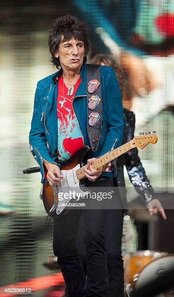 Ron Wood of the British band The Rolling Stones performs live during a concert at the Waldbuehne on June 10 2014 in Berlin Germany