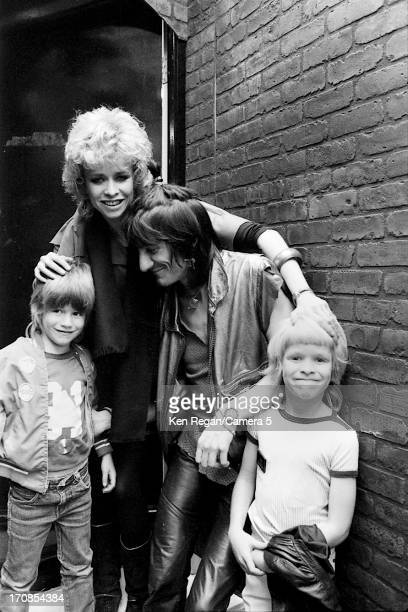 Ron Wood of the Rolling Stones Jo Wood and family are photographed for the July 19 1982 issue of People Magazine on June 2526 1982 backstage at...