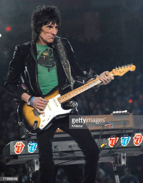Ron Wood of The Rolling Stones performs at halftime during Super Bowl XL between the Pittsburgh Steelers and Seattle Seahawks at Ford Field in...