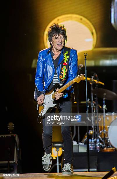 Ron Wood of the Rolling Stones performs on last date of Zip Code Tour 2015 Tour at Festival D'ete De Quebec on July 15 2015 in Quebec City Canada